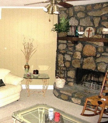 Den with Stone Fireplace